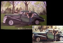 1939 Cadillac painted on 5x7 wooden box client supplied.  Father & Son's portraits included with car they worked on, but never photographed together before dad passed.  Dad was to look older than 70's photo supplied.  Special gift from my client, Marta.  Price: $250.00