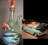 1962 Impala portrait painted on vase client supplied.  Send in photos of your classic auto and have a custom gift created.
