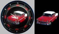 "1956 Red&White Chevy BelAir painted on vintage 50's hubcap with clock movements.  See ""Store"" to purchase.  Various hubcaps available.  Send in your classic car photos!"