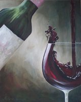 """Red Splash"" - Wine Art Print is Show Stopping! Red Wine Splashing out of the Glass on canvas in lovely muted green, brown and off white background.  24 x 30"" Wrapped Canvas on Stretcher Frame is Ready to Hang"