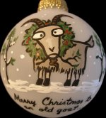 "Goat Farmer personalized Christmas ornament.  Front reads, ""Merry Christmas to an old goat...""; Back reads, ""farmer!""  Snow surrounds ornament.  Your last name or short message can be added on back. $17.50 plus $5.00 shipping."