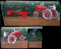 Farmall M Tractor custom painted on Standard T1 Size Mailbox.  The tractor...and mud, appears on both sides and the ends are painted with woods.  US Postmaster General Approved, Strong Box.  Your Name/Address is included.  $170.00 plus $30.00 shipping. Mailbox will then be sealed with several coats of polyurethane and ready for the great outdoors!  You can request another type of tractor, too!  Will paint trucks, boats, anything!