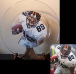 "13"" glass platter with football player's portrait painted on reverse side  Send in photos of your child's sporting event to be painted!  $75.00 plus shipping"
