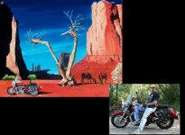 Motorcylce portrait painted on 20x24 canvas.  Client chose background and wanted horses included.  $475.00 plus shipping
