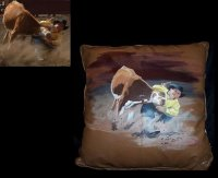 "16x16"" Faux tan leather painted pillow  of steer wrestler.  Send in your favorite rodeo sports, equestrian & motorcycle photos to have custom gifts created.  Steer wrestler - $110.00 plus shipping.  Other colors may be available."