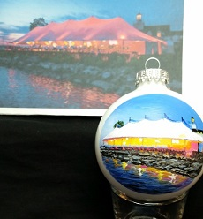 Riverside Yacht Club Wedding Venue in Connecticut painted on Christmas Ornament for the Bride and Groom turned out beautiful.  The lights from the tent reflecting on the water was really cool.  The camera wasn't capturing the tent color exactly correct, though.