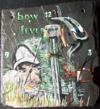 "Bow hunter portrait painted on slate.  Reads ""Bow Fever""  8"" x 8"". Clock movements included.  $95.00 plus $10.00 shipping. Send in your photos and have their portrait custom painted onto slate."