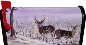 Deer Magnetic Mailbox Cover for standard size mailbox.  Every hunter will enjoy seeing this beautiful painting of the deer in the field.  $25.00 plus $5.00 shipping