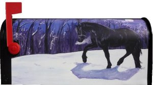 Freesian Horse Magnetic Mailbox Cover for standard size mailbox.  Enjoy this beautifully painted portrait of a Freesian horse walking in the moonlight and snow.  $25.00 plus $5.00 shipping