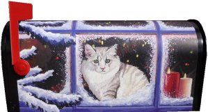 Christmas Kitty Magnetic Mailbox Cover for standard size mailbox.  Lovely persian kitty with Christmas tree lights and snowy window pane welcomes you home.  $25.00 plus $5.00 shipping