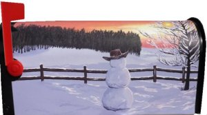 Cowboy Snowman Magnetic Mailbox Cover for standard size mailbox.  Everyone will love this snowman with his cowboy hat and stunning colored skies.  $25.00 plus $5.00 shipping